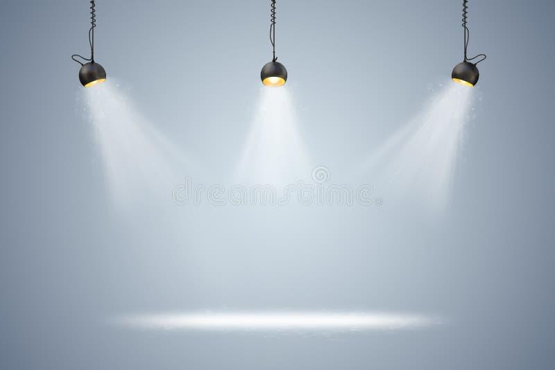 τρισδιάστατη οργάνωση υποβάθρου με τους λαμπτήρες φωτισμού απεικόνιση αποθεμάτων