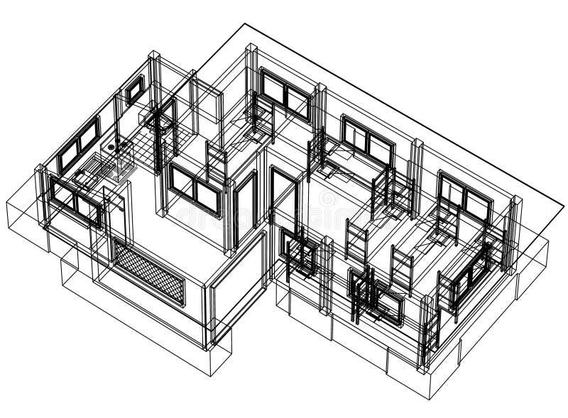 Τρισδιάστατη προοπτική σχεδιαγραμμάτων σπιτιών διανυσματική απεικόνιση