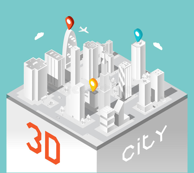 Τρισδιάστατη πόλη εγγράφου Isometric τοπίο κτηρίων ελεύθερη απεικόνιση δικαιώματος