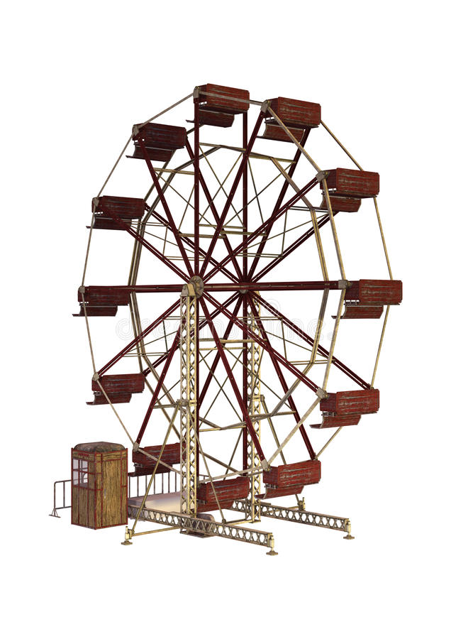 τρισδιάστατη ρόδα απόδοσης Ferris στο λευκό απεικόνιση αποθεμάτων
