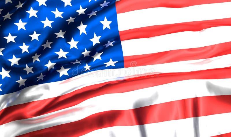 τρισδιάστατη σημαία ΗΠΑ Οι αμερικανικές Ηνωμένες Πολιτείες της Αμερικής σημαιοστολίζουν την τρισδιάστατη απόδοση ελεύθερη απεικόνιση δικαιώματος