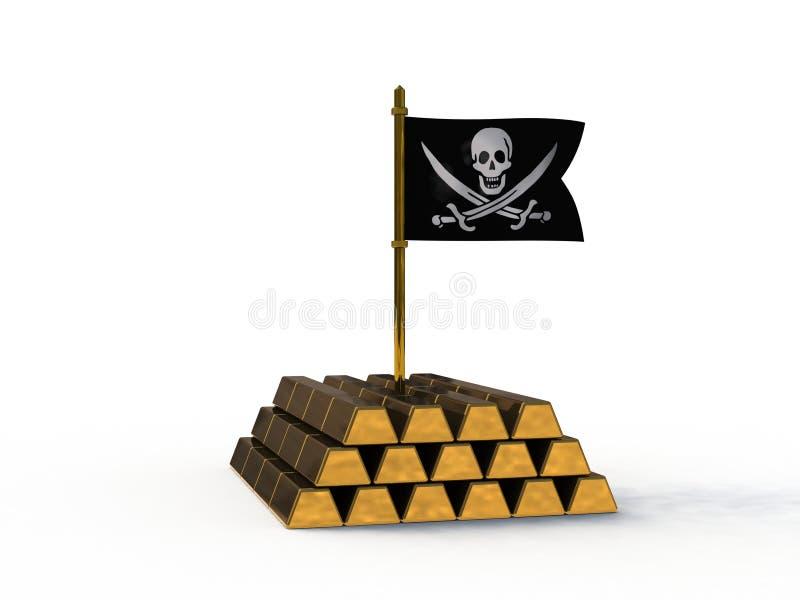 τρισδιάστατη σημαία πειρατών που κολλιέται στο χρυσό ελεύθερη απεικόνιση δικαιώματος