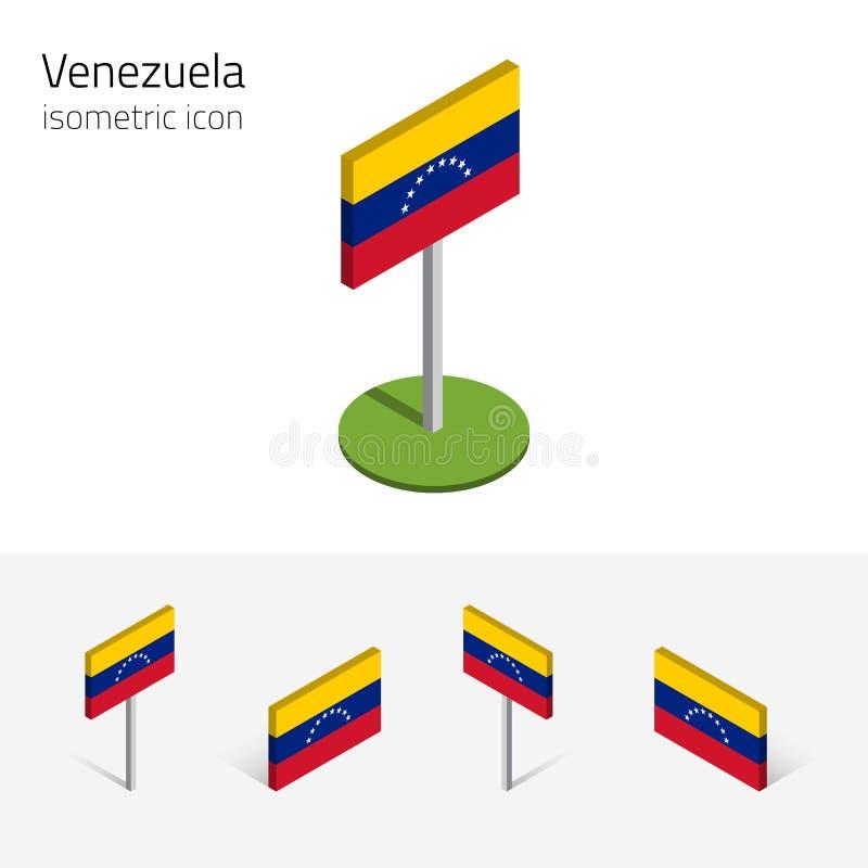 Τρισδιάστατη σημαία της Βενεζουέλας, διανυσματικό σύνολο isometric επίπεδων εικονιδίων ελεύθερη απεικόνιση δικαιώματος