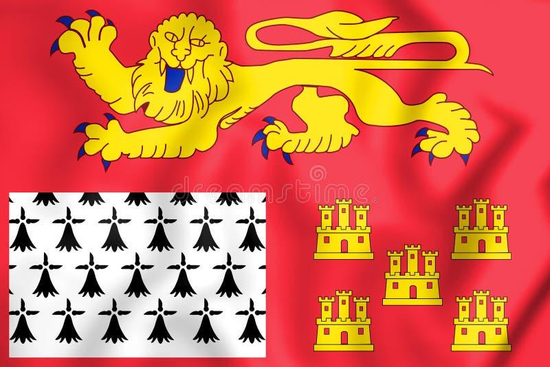 τρισδιάστατη σημαία aquitaine-Λιμουζέν-Poitou-Charentes, Γαλλία απεικόνιση αποθεμάτων