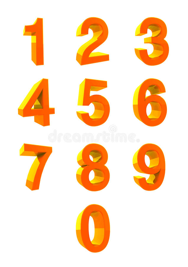 τρισδιάστατη ΣΥΛΛΟΓΗ ΑΡΙΘΜΟΥ Αριθμοί 1.2.3.4.5.6.7.8.9.0 στοκ φωτογραφία με δικαίωμα ελεύθερης χρήσης