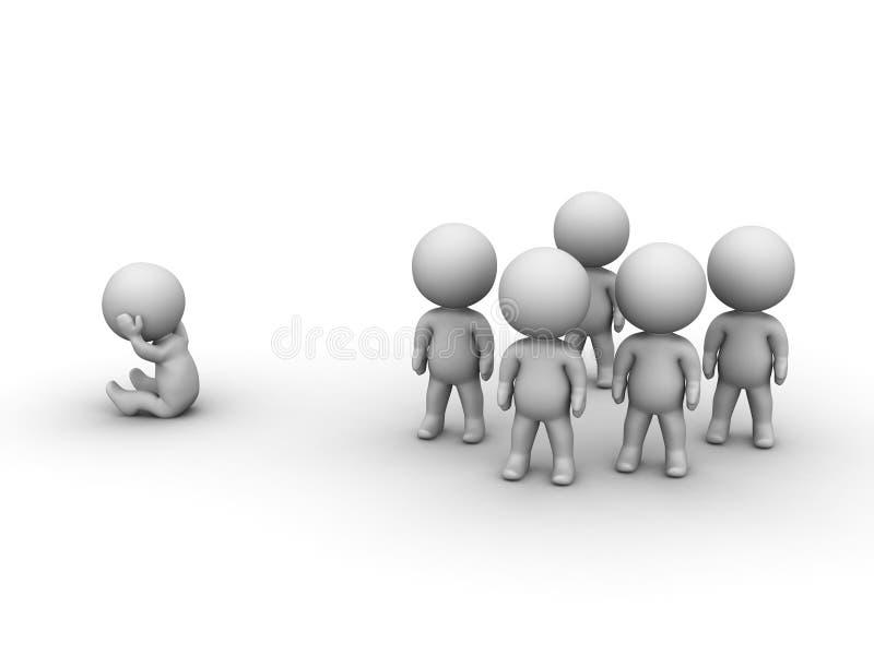 τρισδιάστατη συνεδρίαση ατόμων που απομονώνεται από την ομάδα ελεύθερη απεικόνιση δικαιώματος