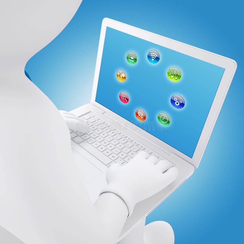 τρισδιάστατη συνεδρίαση λευκών με ένα lap-top διανυσματική απεικόνιση