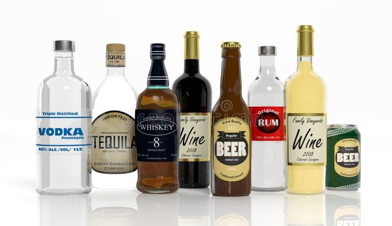 τρισδιάστατη συλλογή των μπουκαλιών οινοπνευματωδών ποτών απεικόνιση αποθεμάτων