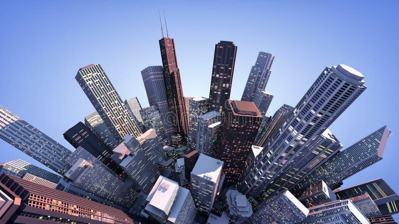 τρισδιάστατη σύγχρονη πόλη ελεύθερη απεικόνιση δικαιώματος