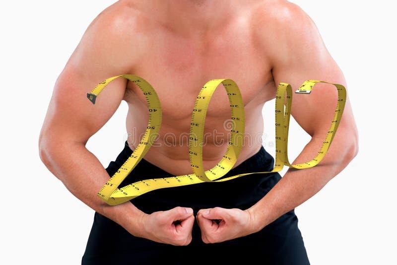 τρισδιάστατη σύνθετη εικόνα της κάμψης bodybuilder στοκ φωτογραφίες