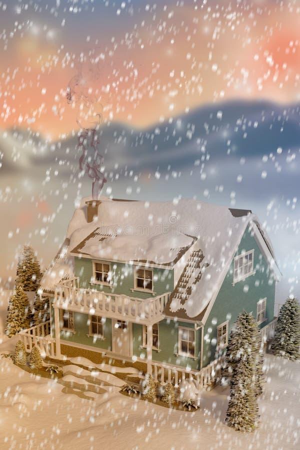 τρισδιάστατη σύνθετη εικόνα της υψηλής άποψης γωνίας του σπιτιού που καλύπτεται στο χιόνι απεικόνιση αποθεμάτων