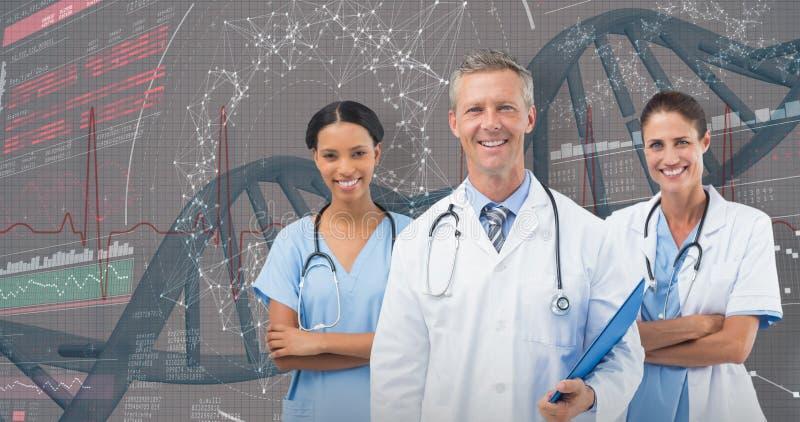 τρισδιάστατη σύνθετη εικόνα του πορτρέτου του αρσενικού γιατρού με το γυναικείο προσωπικό στοκ εικόνα