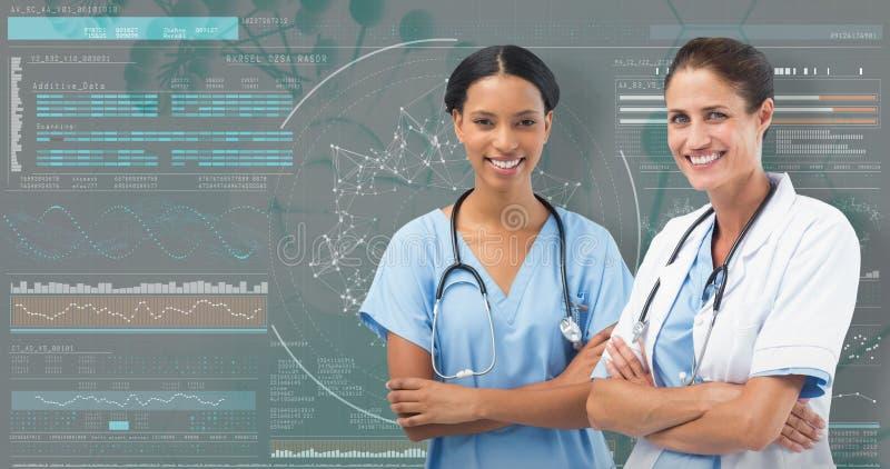 τρισδιάστατη σύνθετη εικόνα του πορτρέτου των χαμογελώντας θηλυκών γιατρών που στέκονται τα όπλα που διασχίζονται στοκ εικόνα με δικαίωμα ελεύθερης χρήσης