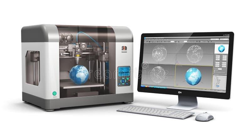τρισδιάστατη τεχνολογία εκτύπωσης διανυσματική απεικόνιση