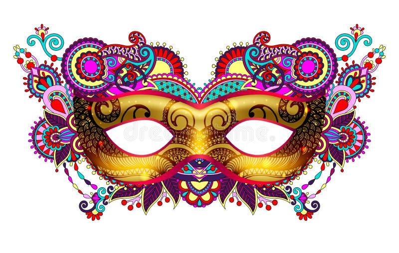 τρισδιάστατη χρυσή ενετική σκιαγραφία μασκών καρναβαλιού με διακοσμητικός floral απεικόνιση αποθεμάτων