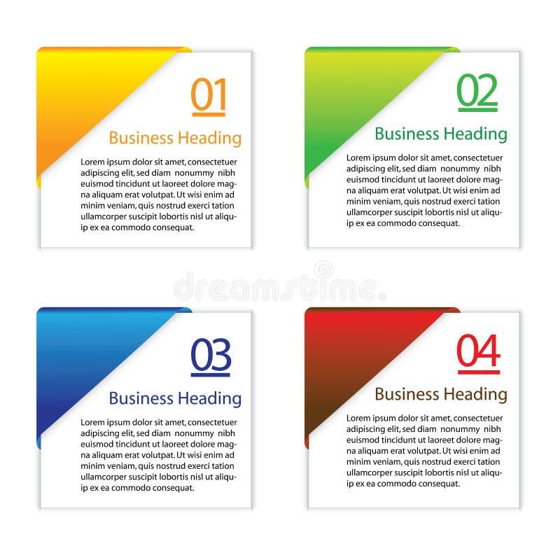 τρισδιάστατη grpahic απεικόνιση των ζωηρόχρωμων κενών ή κενών καρτών πληροφοριών διανυσματική απεικόνιση
