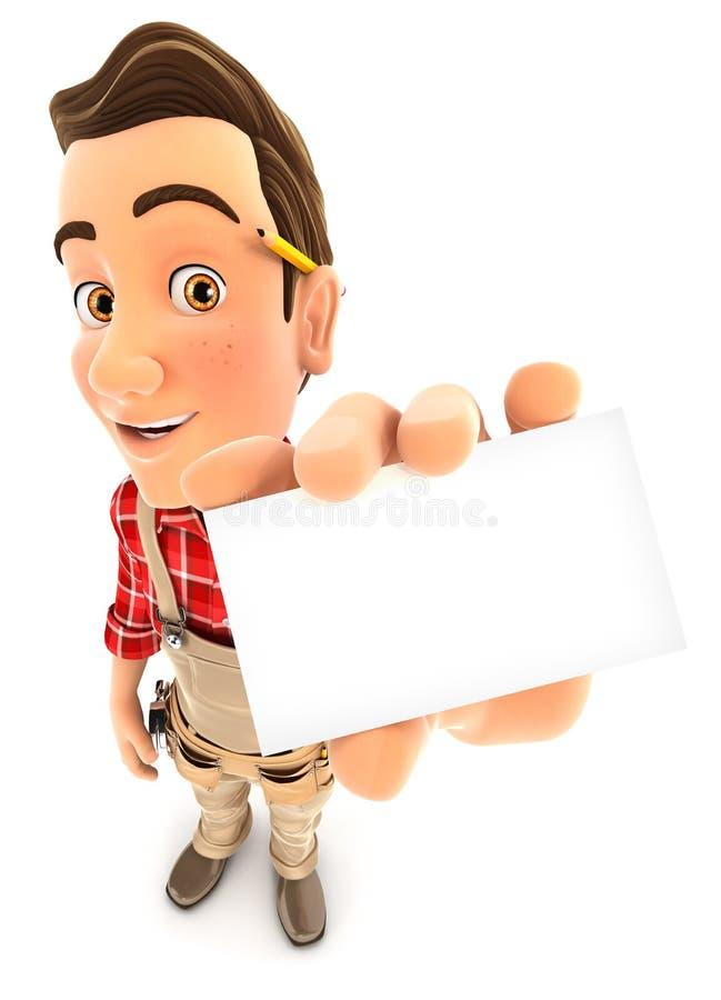 τρισδιάστατη handyman κάρτα εταιρεία χόλντινγκ διανυσματική απεικόνιση