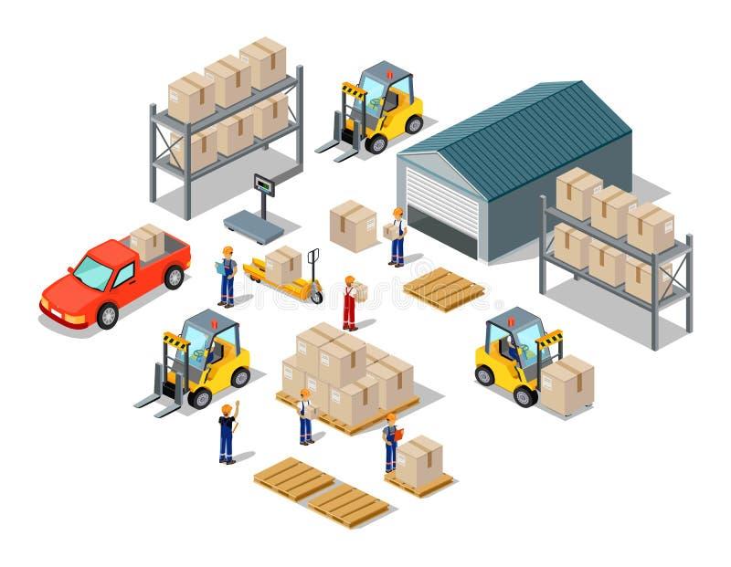 Τρισδιάστατη Isometric διαδικασία εικονιδίων της αποθήκης εμπορευμάτων διανυσματική απεικόνιση