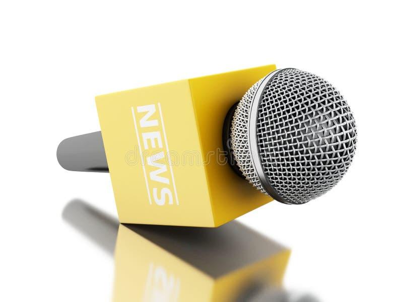 τρισδιάστατη TV μικροφώνων ειδήσεων με το κίτρινο κιβώτιο απεικόνιση αποθεμάτων