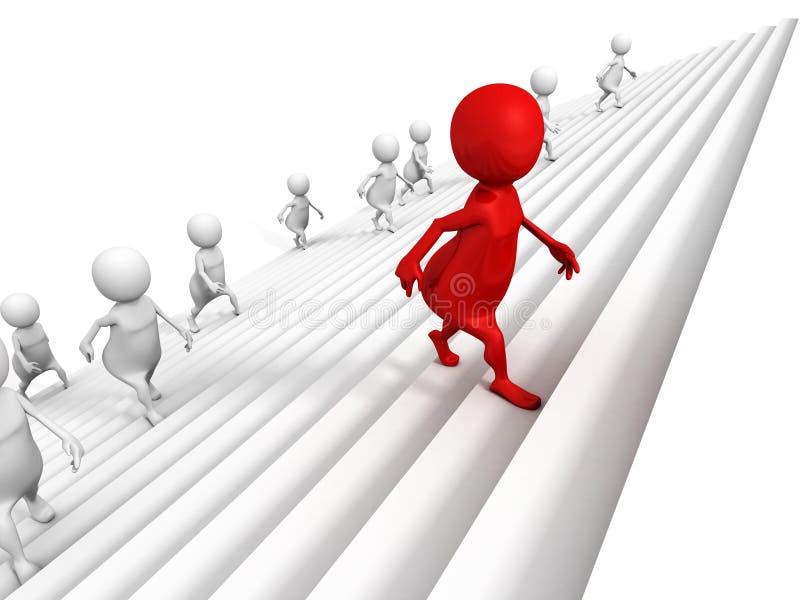 τρισδιάστατοι άνθρωποι που επάνω στα βήματα σκαλών επιτυχίας με τον κόκκινο ηγέτη απεικόνιση αποθεμάτων