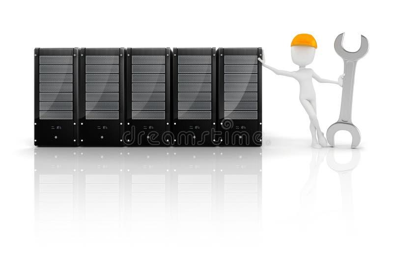 τρισδιάστατοι άτομο και κεντρικός υπολογιστής, συντήρηση υλικού διανυσματική απεικόνιση