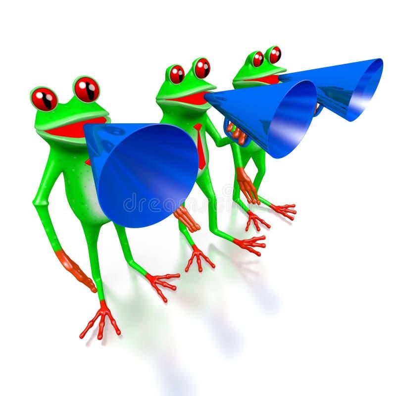 τρισδιάστατοι βάτραχοι κινούμενων σχεδίων - έννοια μεγάφωνων απεικόνιση αποθεμάτων