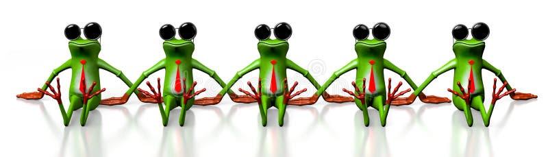 τρισδιάστατοι βάτραχοι κινούμενων σχεδίων με τα γυαλιά ηλίου απεικόνιση αποθεμάτων