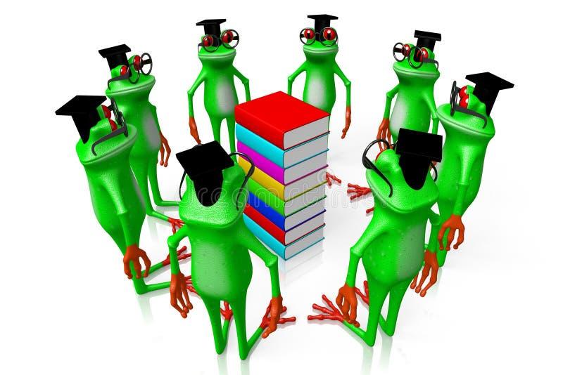 τρισδιάστατοι βάτραχοι με τα βιβλία - έννοια γνώσης απεικόνιση αποθεμάτων