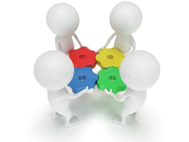 τρισδιάστατοι εργαλεία και άνθρωποι χρώματος στο λευκό ελεύθερη απεικόνιση δικαιώματος
