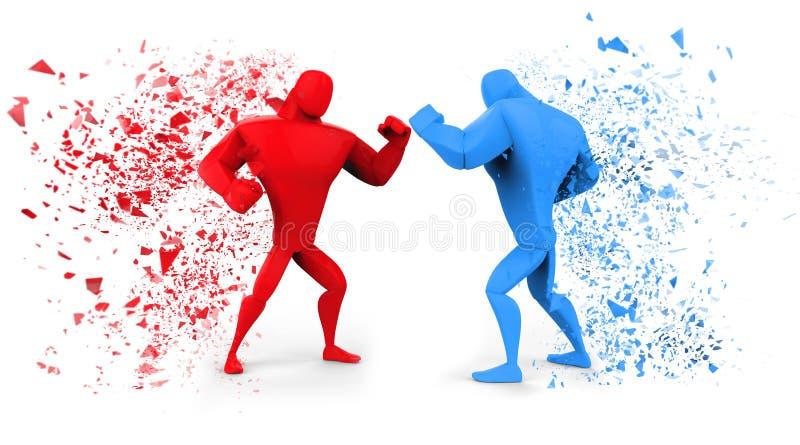 τρισδιάστατοι κόκκινοι και μπλε μαχητές ελεύθερη απεικόνιση δικαιώματος