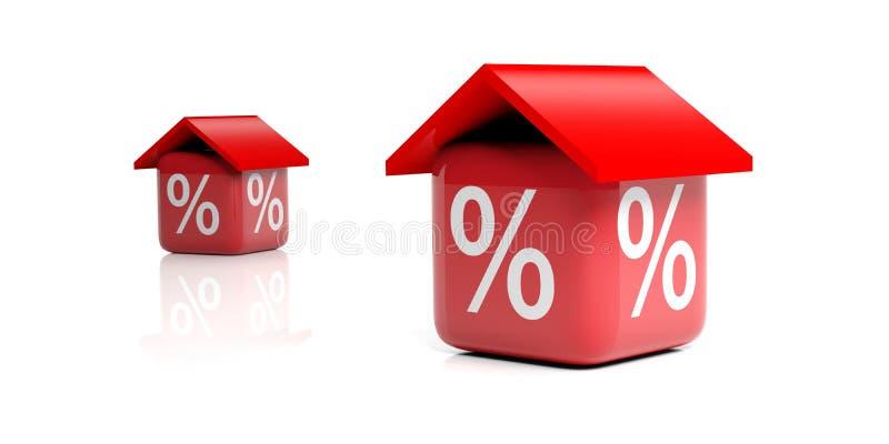 τρισδιάστατοι κόκκινοι κύβοι απόδοσης με τη στέγη και το σύμβολο έκπτωσης απεικόνιση αποθεμάτων