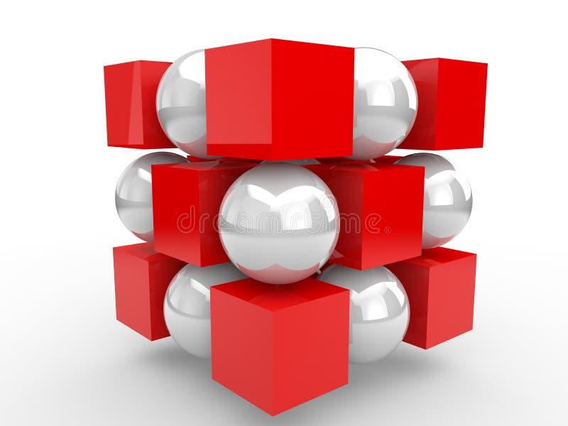 τρισδιάστατοι κόκκινοι κύβοι και άσπρες σφαίρες που οργανώνονται απεικόνιση αποθεμάτων
