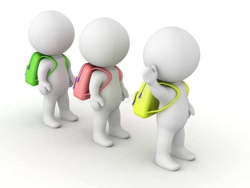 τρισδιάστατοι μαθητές χαρακτήρων με τις σχολικές τσάντες στη γραμμή διανυσματική απεικόνιση