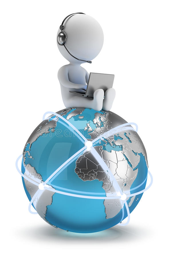 τρισδιάστατοι μικροί άνθρωποι - παγκόσμιο δίκτυο διανυσματική απεικόνιση