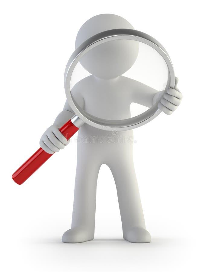 τρισδιάστατοι μικροί άνθρωποι - πιό magnifier απεικόνιση αποθεμάτων