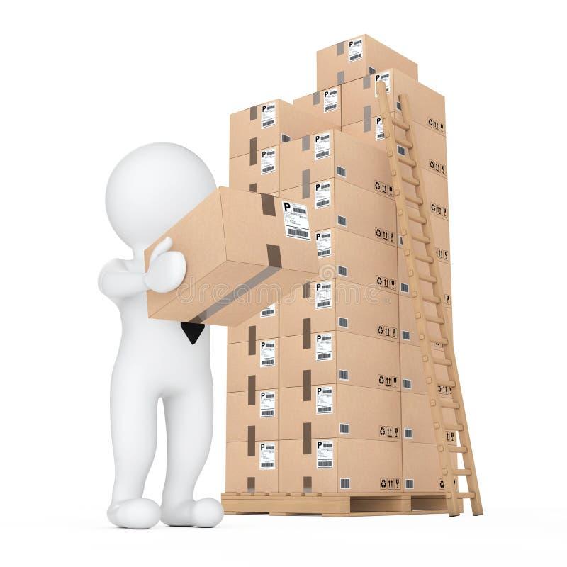 τρισδιάστατοι μικροί άνθρωποι που παραδίδουν ένα κουτί από χαρτόνι στην αποθήκη εμπορευμάτων τρισδιάστατο rend ελεύθερη απεικόνιση δικαιώματος