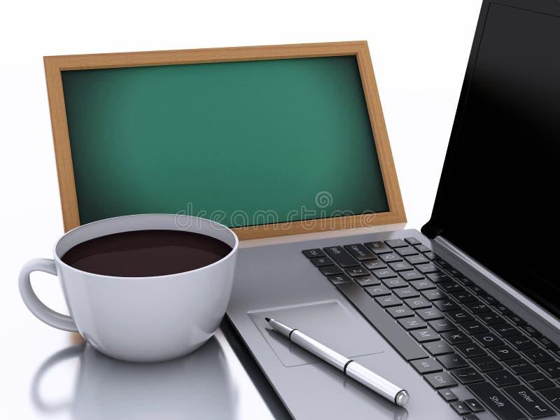 τρισδιάστατοι πίνακας κιμωλίας, φλιτζάνι του καφέ και lap-top στο άσπρο υπόβαθρο απεικόνιση αποθεμάτων