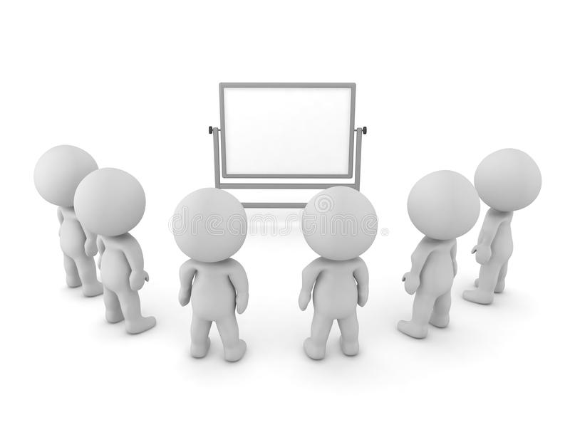 τρισδιάστατοι χαρακτήρες που κάθονται μπροστά από ένα whiteboard σε μια συνεδρίαση ελεύθερη απεικόνιση δικαιώματος