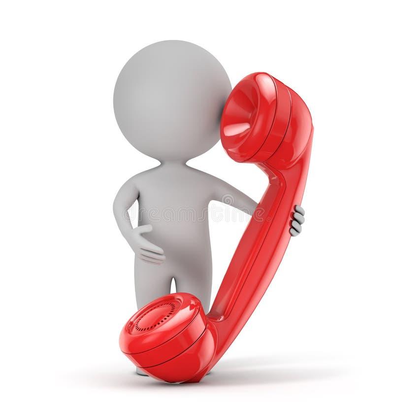 τρισδιάστατοι χαριτωμένοι άνθρωποι - κόκκινο αναδρομικό τηλέφωνο εκμετάλλευσης απεικόνιση αποθεμάτων