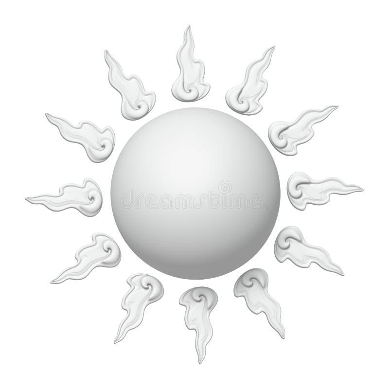 τρισδιάστατος άσπρος ήλιος στοκ εικόνες