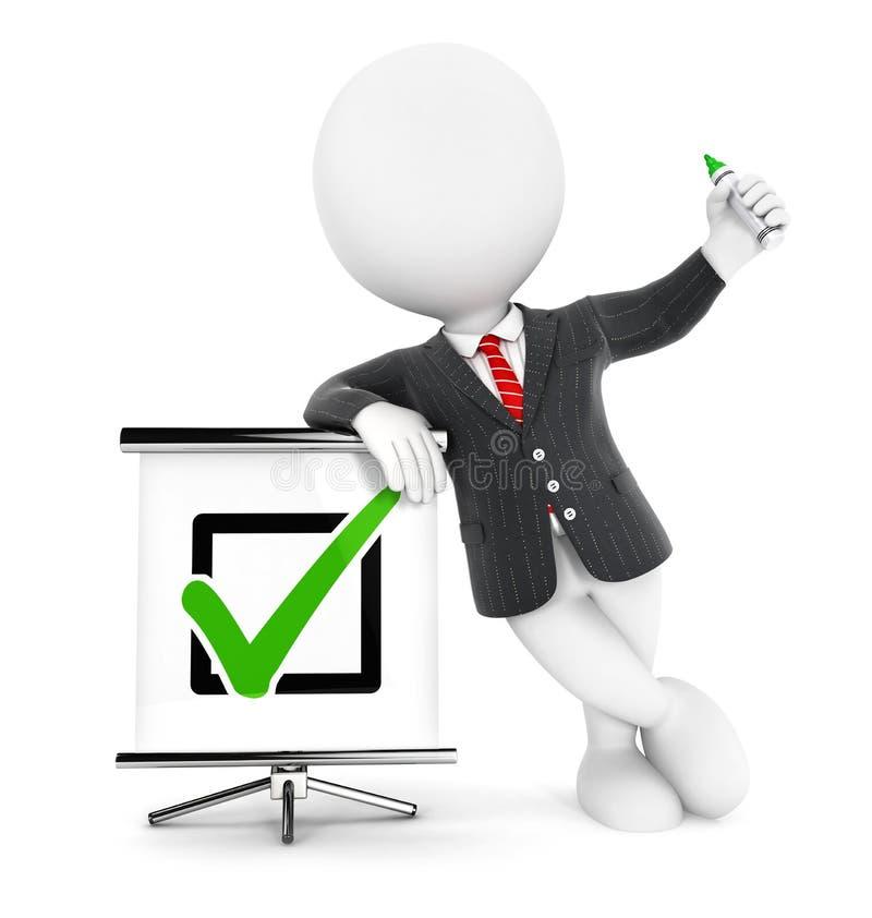 τρισδιάστατος άσπρος θετικός έλεγχος επιχειρηματιών ανθρώπων διανυσματική απεικόνιση