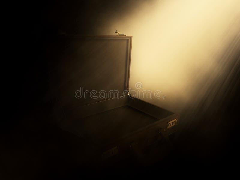 τρισδιάστατος ανοικτός χαρτοφύλακας με τις ακτίνες που λάμπουν σε το ελεύθερη απεικόνιση δικαιώματος