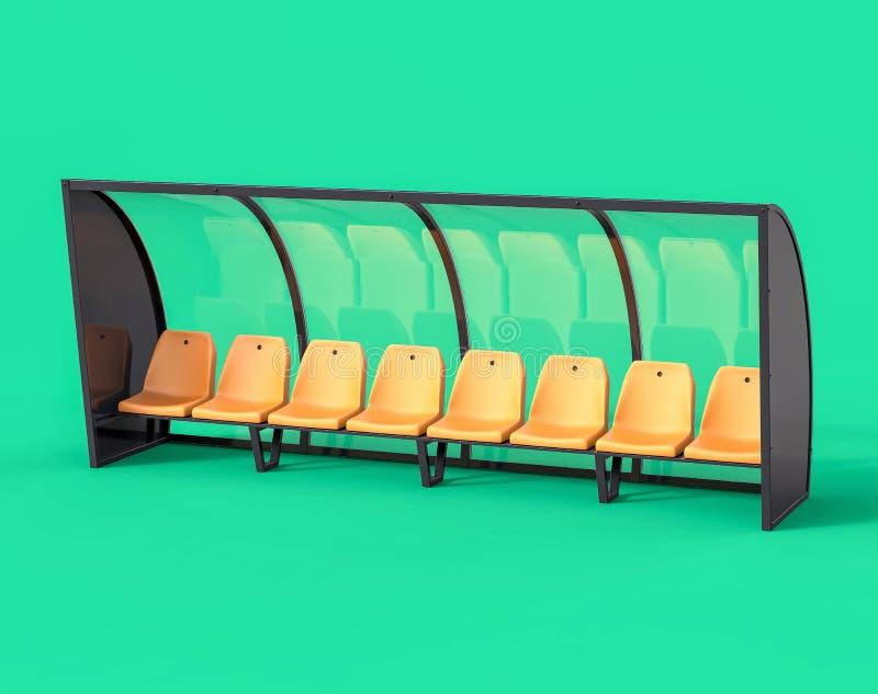 τρισδιάστατος απομονωμένος κίτρινος πάγκος ποδοσφαίρου ποδοσφαίρου ελεύθερη απεικόνιση δικαιώματος