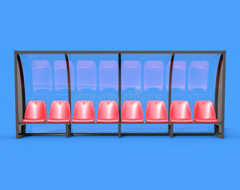 τρισδιάστατος απομονωμένος κόκκινος πάγκος ποδοσφαίρου ποδοσφαίρου απεικόνιση αποθεμάτων