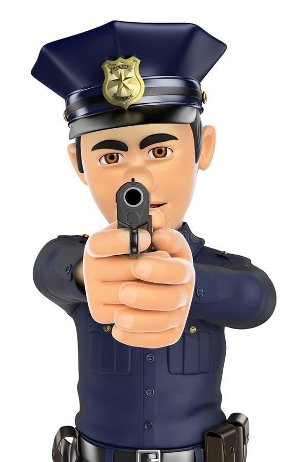 τρισδιάστατος αστυνομικός που στοχεύει ένα πυροβόλο όπλο στο μέτωπο ελεύθερη απεικόνιση δικαιώματος