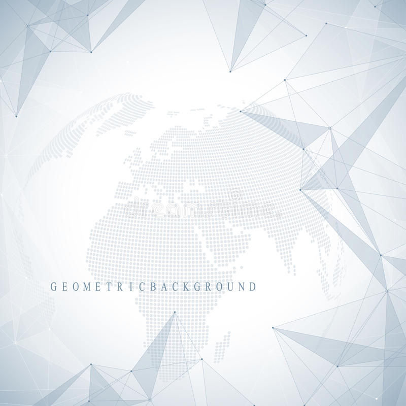 Τρισδιάστατος αφηρημένος πλανήτης υποβάθρου Εικονικές ενώσεις επικοινωνίας ή μορίων υποβάθρου παγκόσμιο δίκτυο ελεύθερη απεικόνιση δικαιώματος