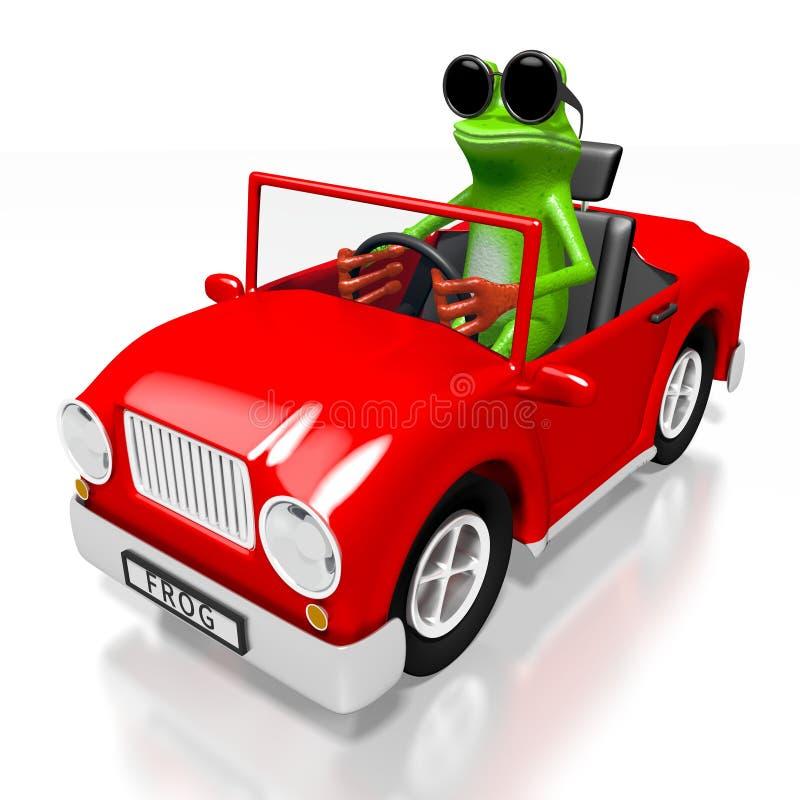 τρισδιάστατος βάτραχος κινούμενων σχεδίων και ένα αυτοκίνητο ελεύθερη απεικόνιση δικαιώματος