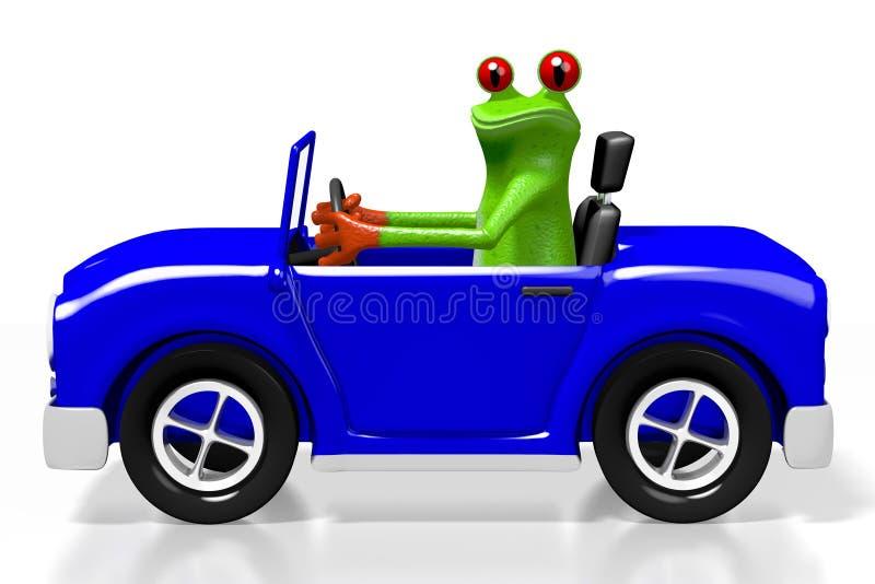 τρισδιάστατος βάτραχος κινούμενων σχεδίων και ένα αυτοκίνητο απεικόνιση αποθεμάτων