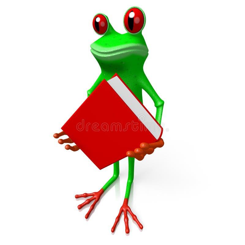 τρισδιάστατος βάτραχος με ένα βιβλίο - έννοια γνώσης διανυσματική απεικόνιση