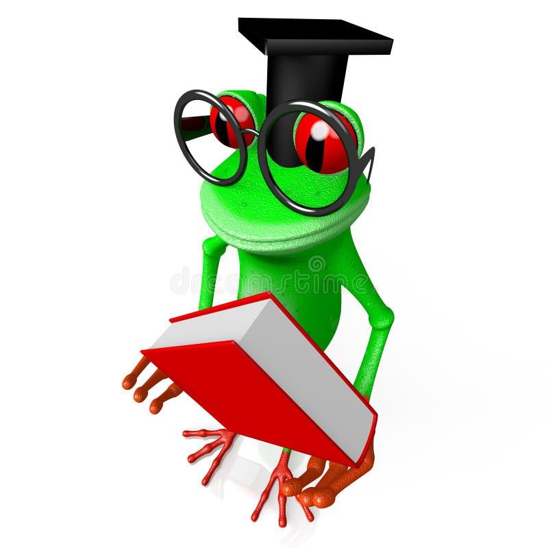 τρισδιάστατος βάτραχος με ένα βιβλίο - έννοια γνώσης απεικόνιση αποθεμάτων